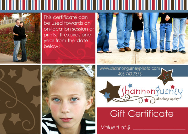 Gift certificate shan